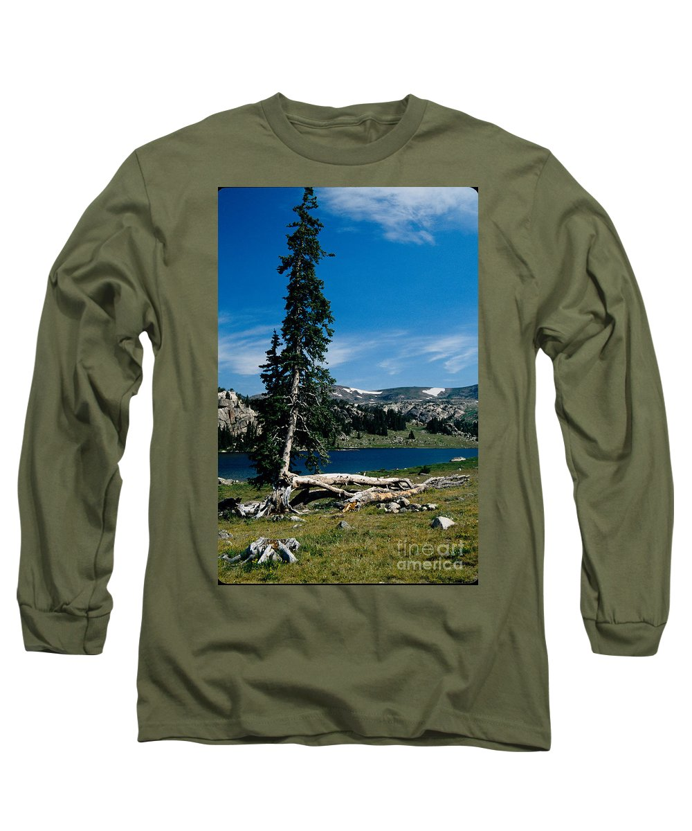 Mountains Long Sleeve T-Shirt featuring the photograph Lone Tree At Pass by Kathy McClure