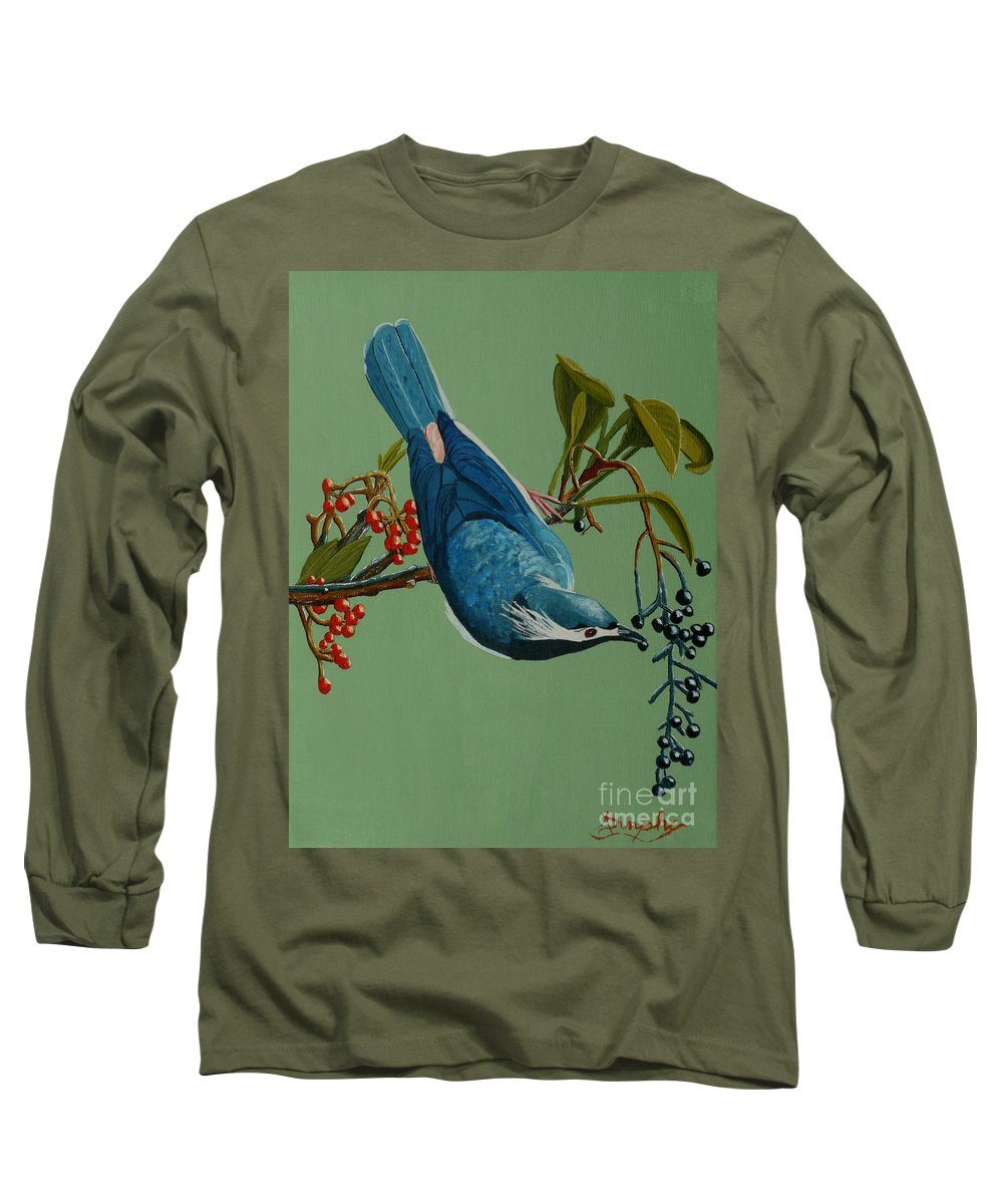 Bird Long Sleeve T-Shirt featuring the painting Lunch Time For Blue Bird by Anthony Dunphy