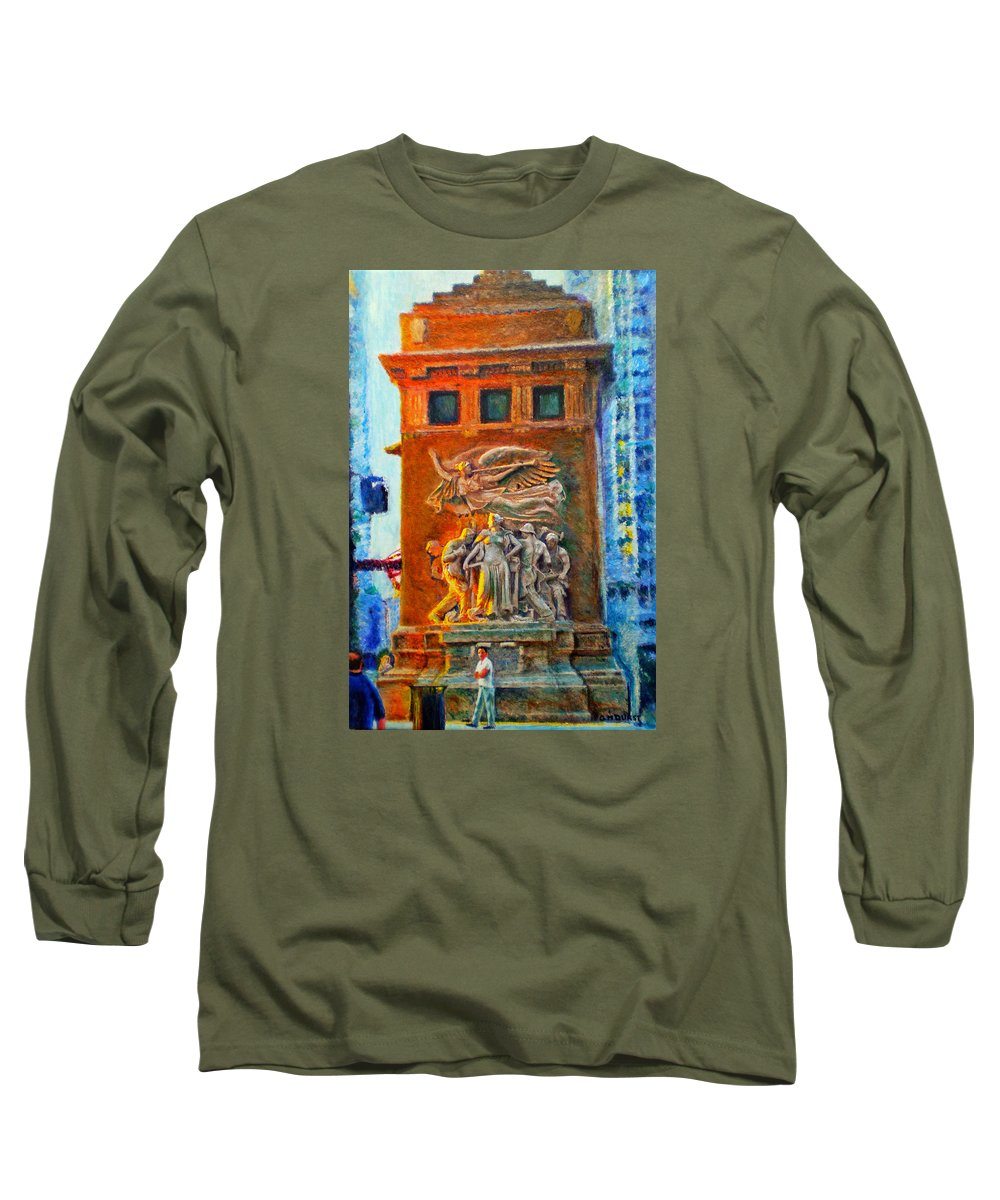 Chicago Long Sleeve T-Shirt featuring the painting Michigan Avenue Bridge by Michael Durst
