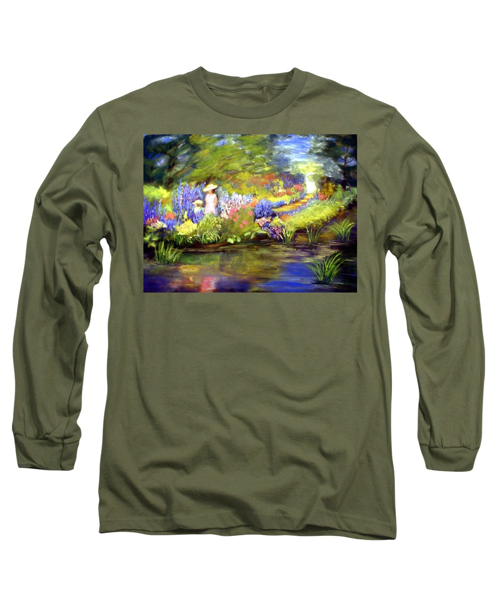 Flower Garden Long Sleeve T-Shirt featuring the painting Mother And Daughter by Gail Kirtz
