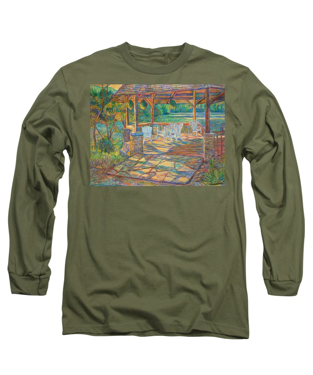 Lake Long Sleeve T-Shirt featuring the painting Mountain Lake Shadows by Kendall Kessler
