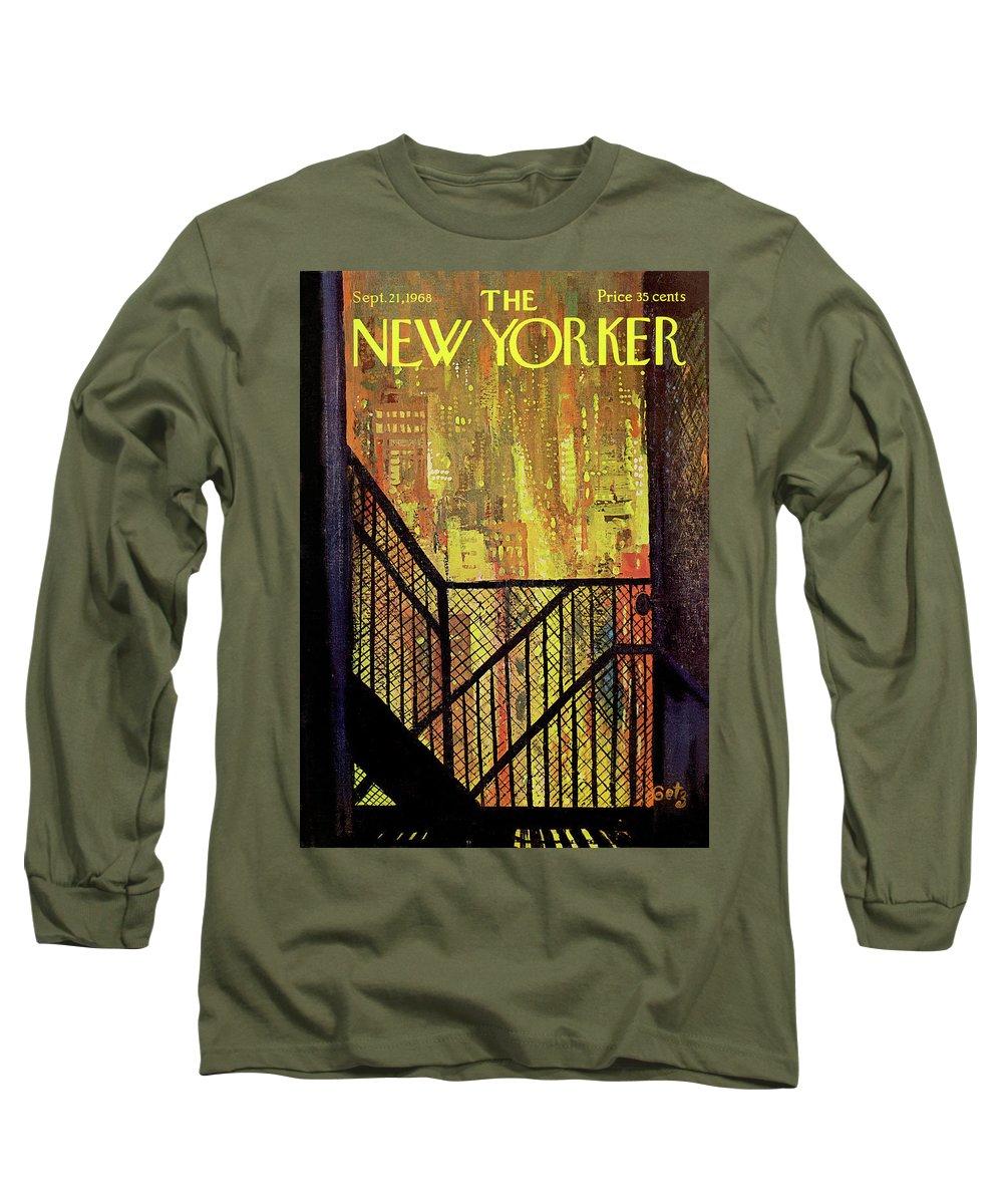 Arthur Getz Agt Long Sleeve T-Shirt featuring the painting New Yorker September 21st, 1968 by Arthur Getz
