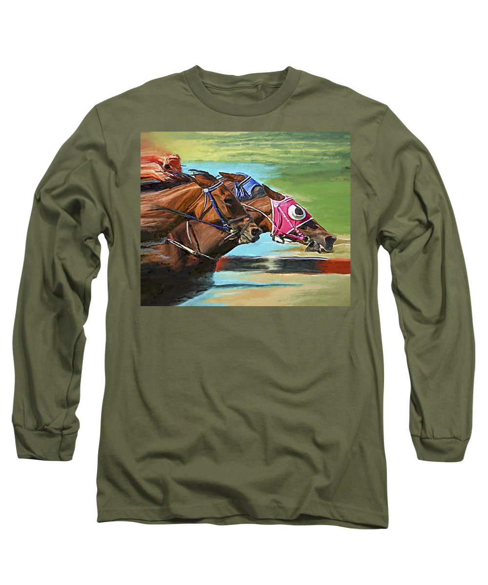 Horses Long Sleeve T-Shirt featuring the painting Nikita By A Head by David Wagner