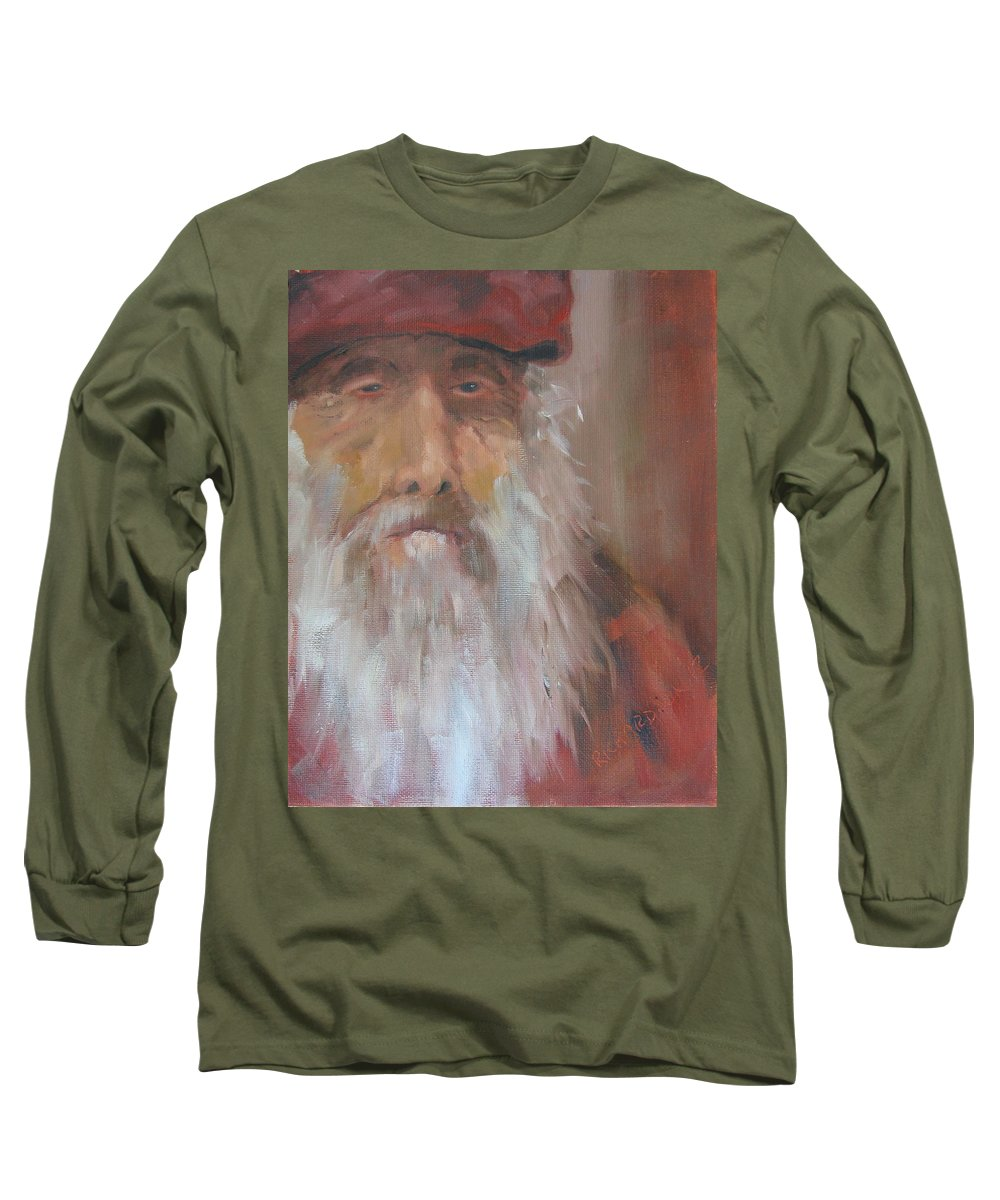 Christo Poloronis Long Sleeve T-Shirt featuring the painting Old Salt Christo At 80 by Susan Richardson