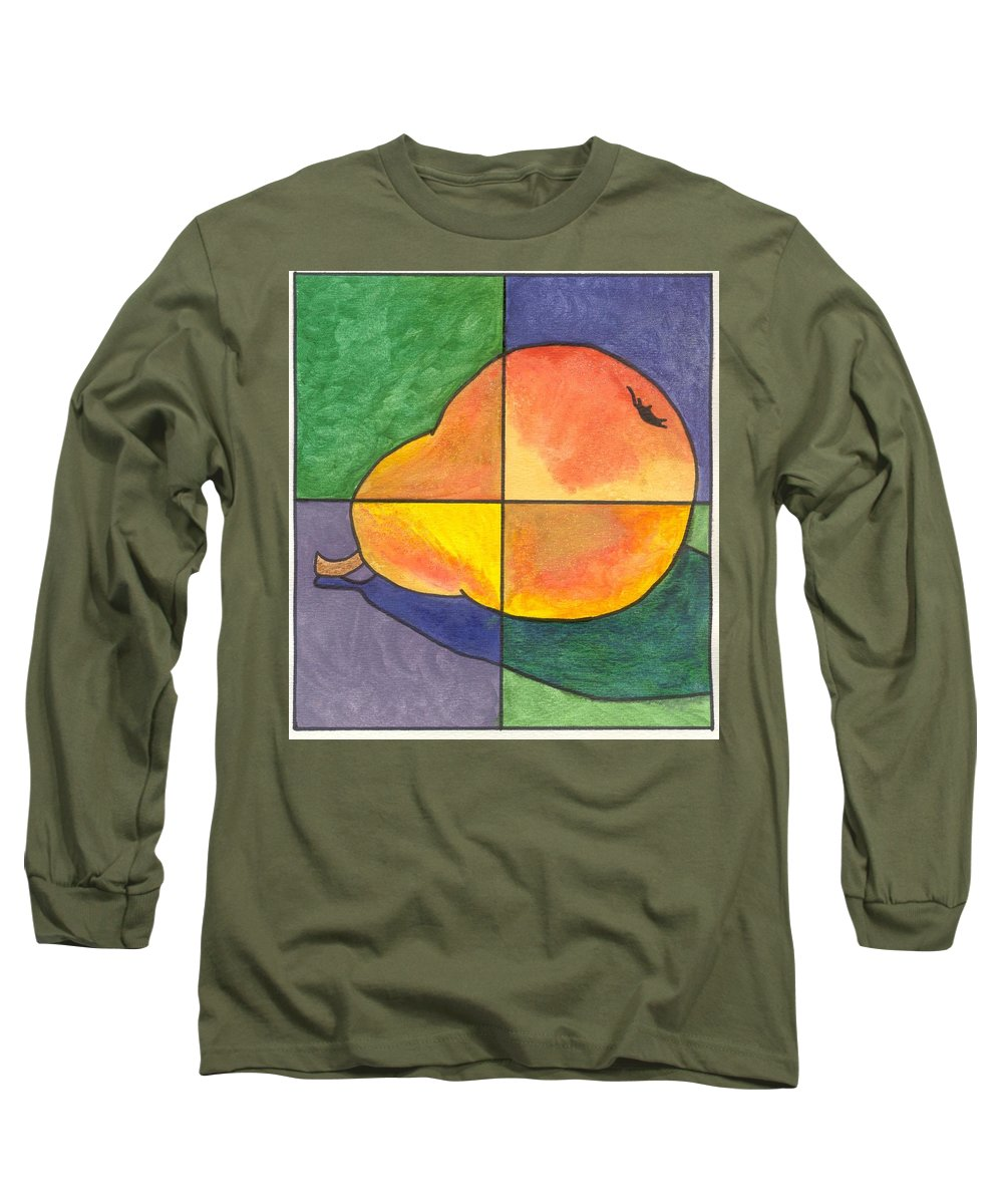 Pear Long Sleeve T-Shirt featuring the painting Pear II by Micah Guenther