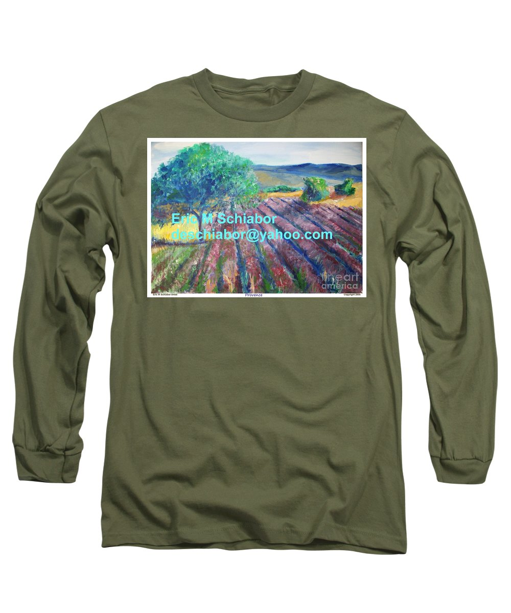 The Actor Long Sleeve T-Shirt featuring the painting Provence Lavender Field by Eric Schiabor