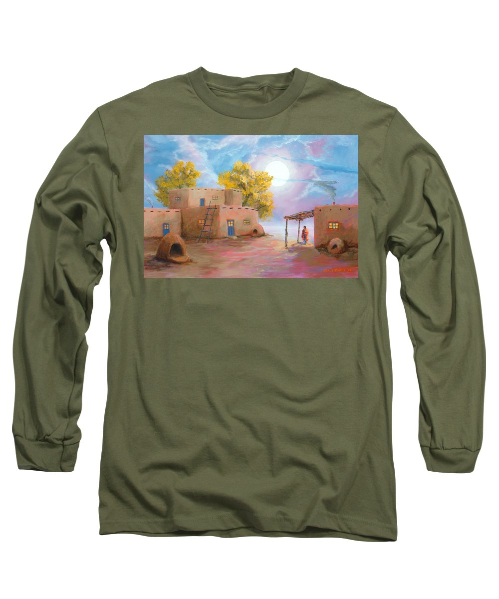 Pueblo Long Sleeve T-Shirt featuring the painting Pueblo De Las Lunas by Jerry McElroy