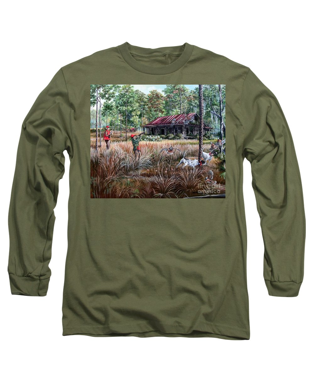Fine Art Long Sleeve T-Shirt featuring the painting Quail Hunting- On Familiar Ground by Daniel Butler