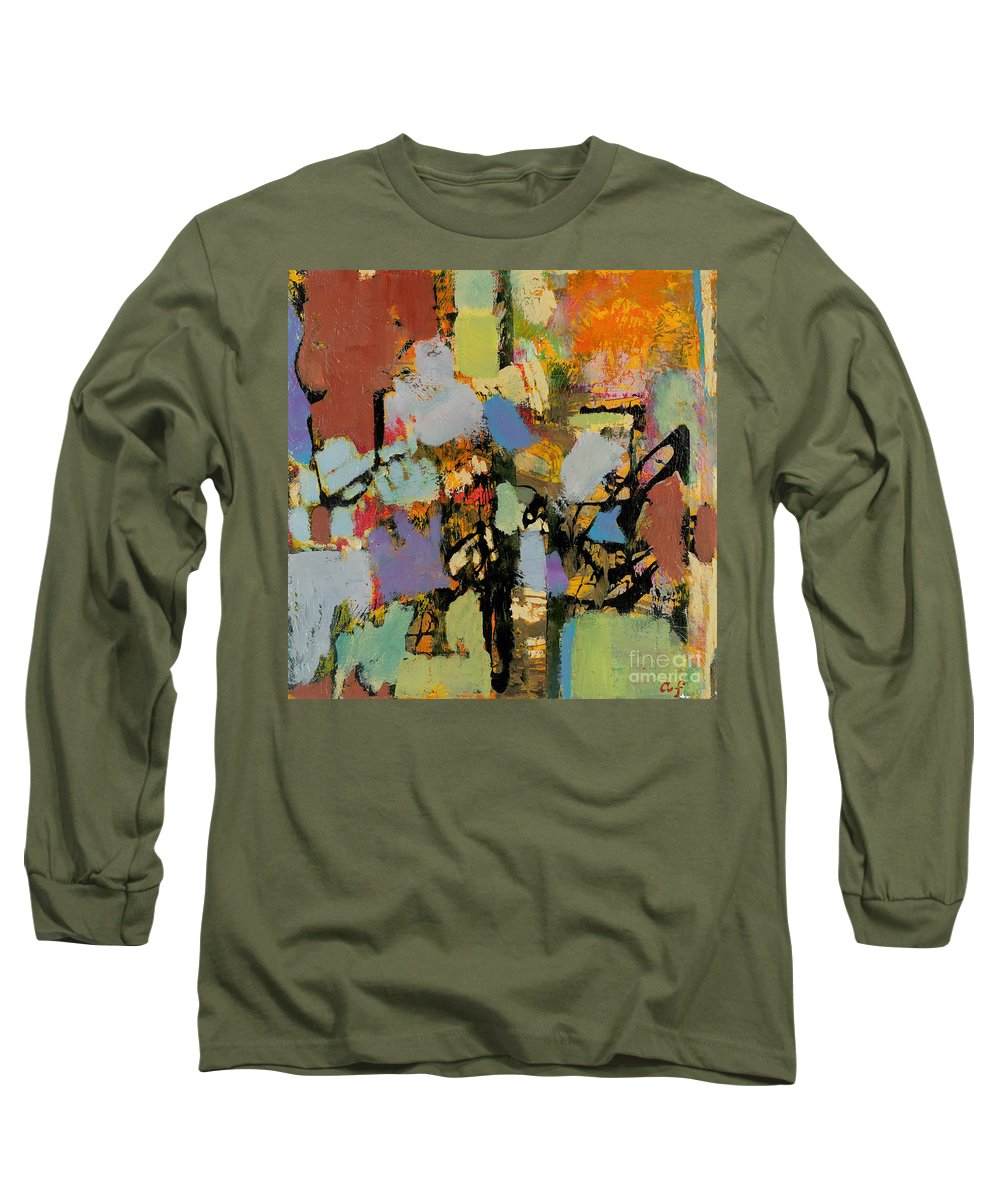 Landscape Long Sleeve T-Shirt featuring the painting Quick Racing by Allan P Friedlander