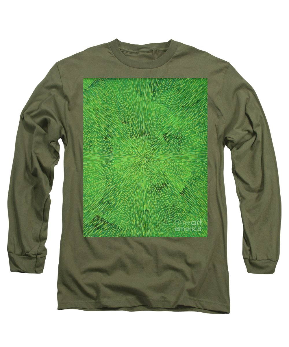 Abstract Long Sleeve T-Shirt featuring the painting Radiation Green by Dean Triolo