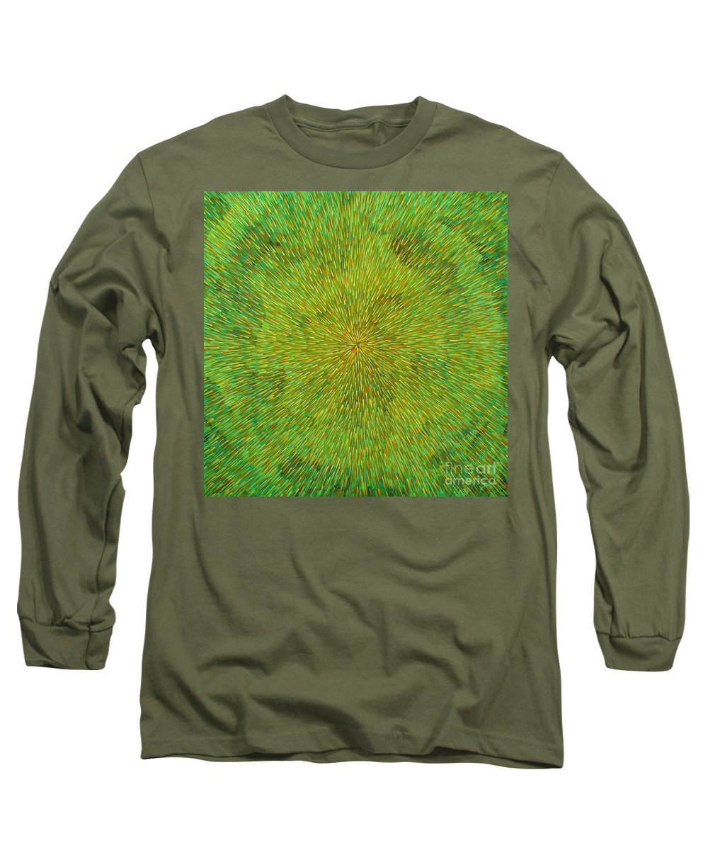 Abstract Long Sleeve T-Shirt featuring the painting Radiation With Green Yellow And Orange by Dean Triolo