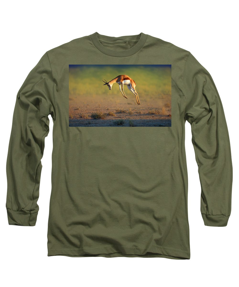 Springbok Long Sleeve T-Shirt featuring the photograph Running Springbok Jumping High by Johan Swanepoel