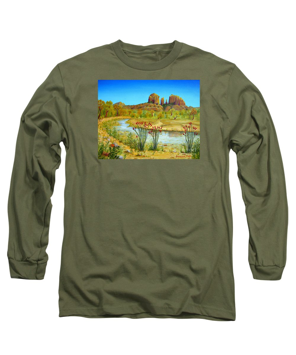 Sedona Long Sleeve T-Shirt featuring the painting Sedona Arizona by Jerome Stumphauzer
