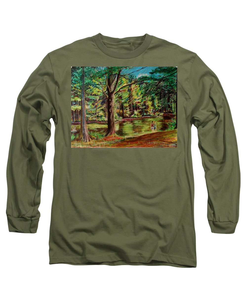 New Hampshire Long Sleeve T-Shirt featuring the pastel Sisters At Wason Pond by Sean Connolly