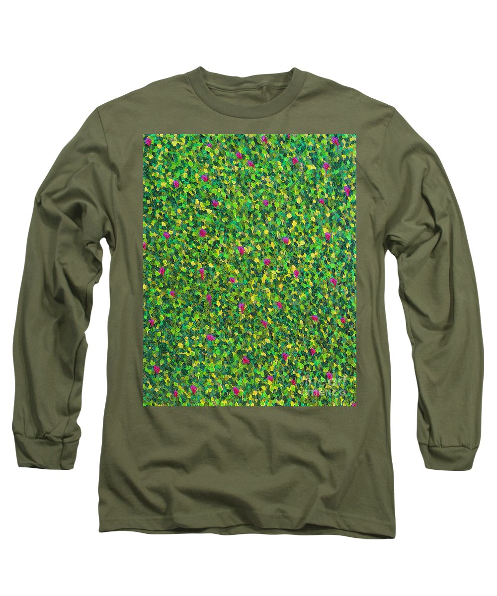 Abstract Long Sleeve T-Shirt featuring the painting Soft Green With Pink by Dean Triolo