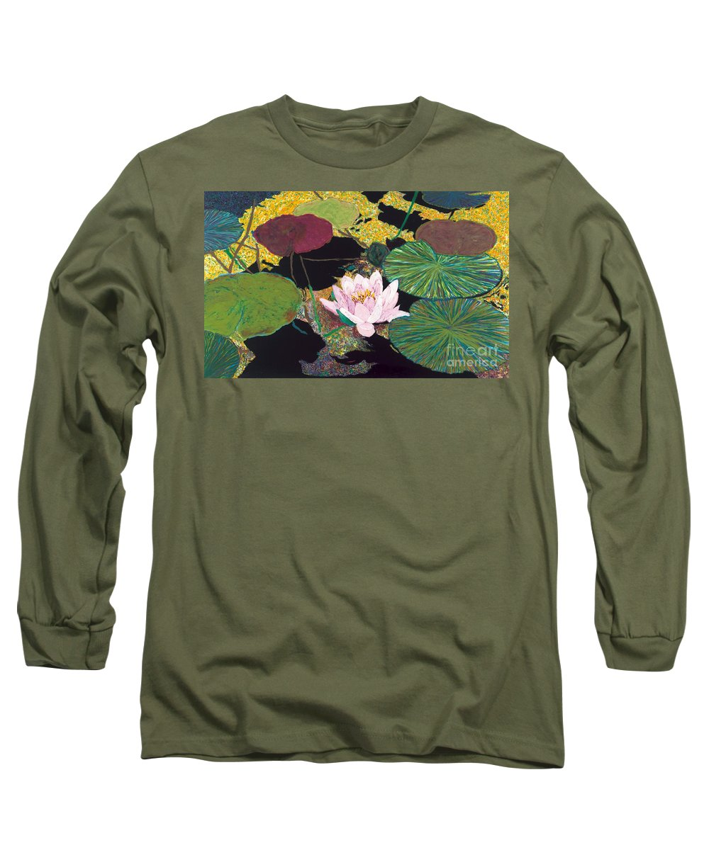 Landscape Long Sleeve T-Shirt featuring the painting Steamy Pond by Allan P Friedlander