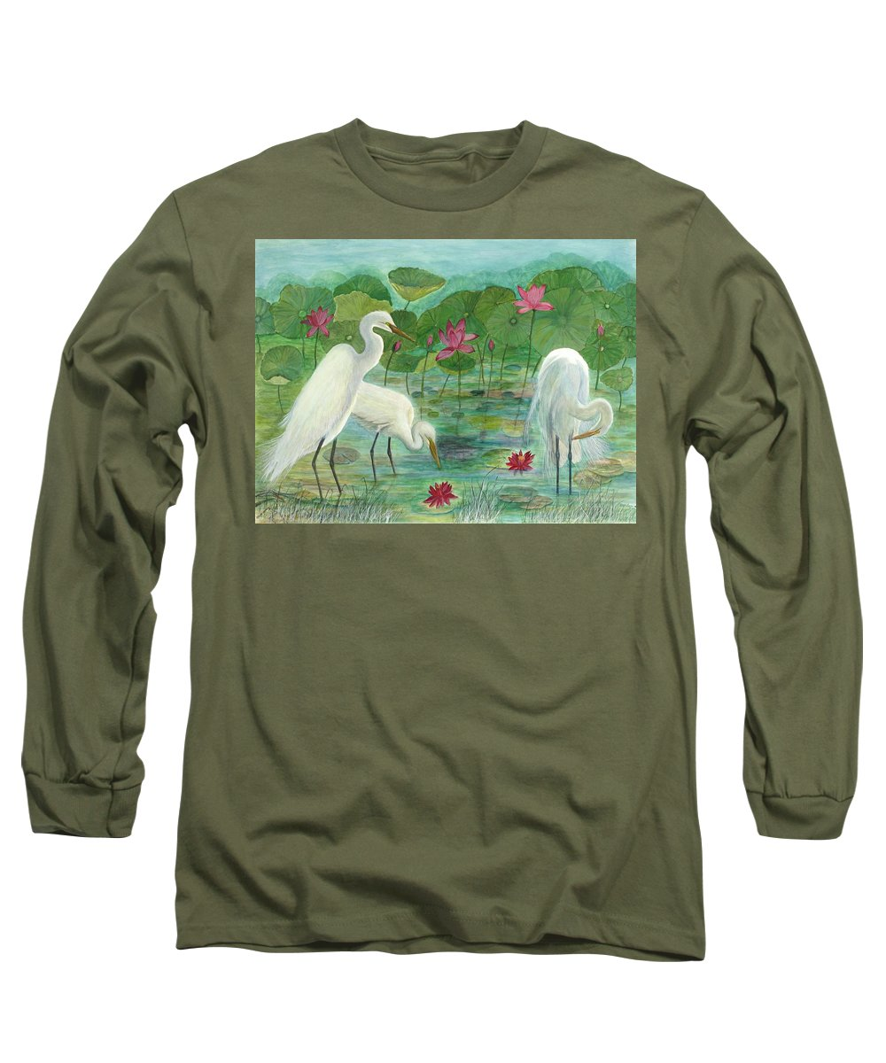 Lily Pads; Egrets; Low Country Long Sleeve T-Shirt featuring the painting Summer Trilogy by Ben Kiger