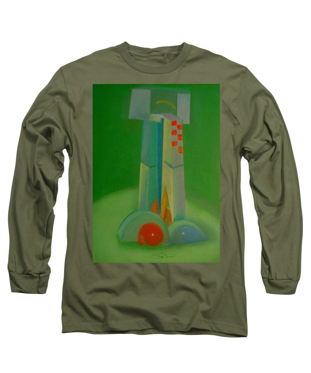 Cubist View Of Figure Long Sleeve T-Shirt featuring the painting Survivors by Charles Stuart