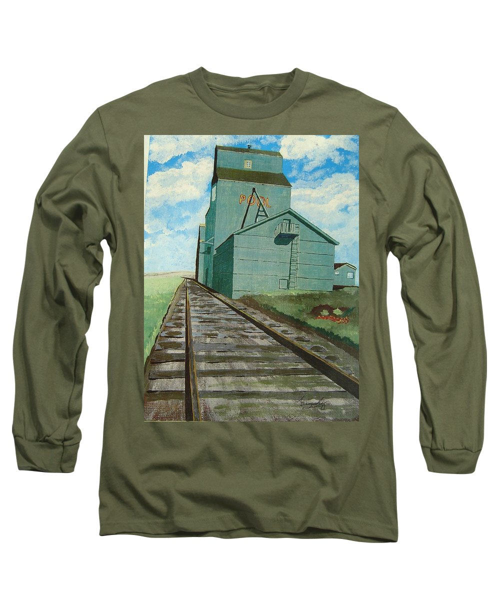 Elevator Long Sleeve T-Shirt featuring the painting The Grain Elevator by Anthony Dunphy