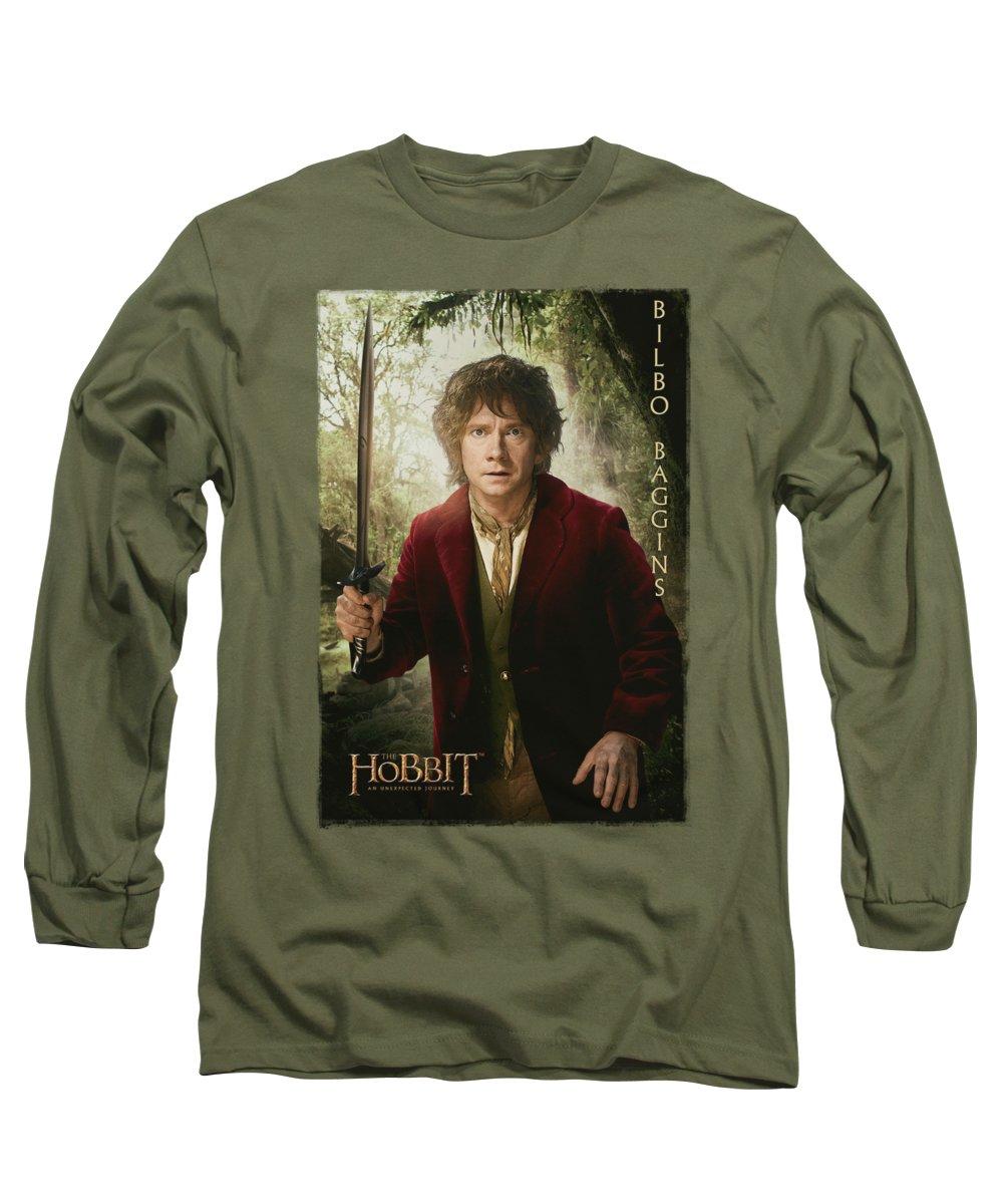 The Hobbit Long Sleeve T-Shirt featuring the digital art The Hobbit - Bilbo Poster by Brand A