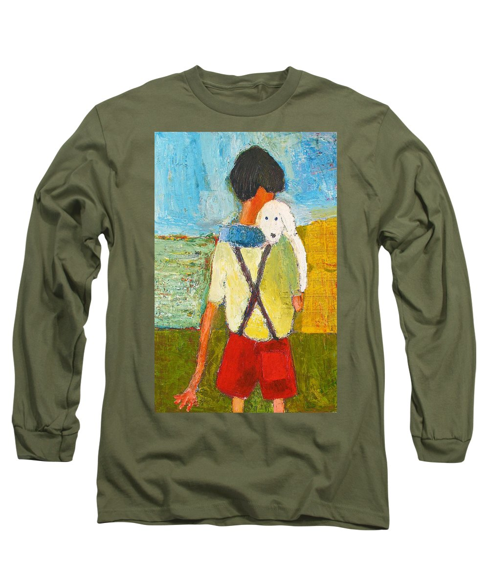 Abstract Long Sleeve T-Shirt featuring the painting The Little Puppy by Habib Ayat