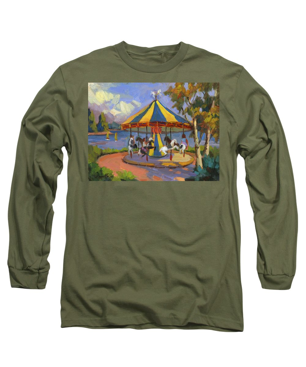 Carousel Long Sleeve T-Shirt featuring the painting The Village Carousel At Lake Arrowhead by Diane McClary