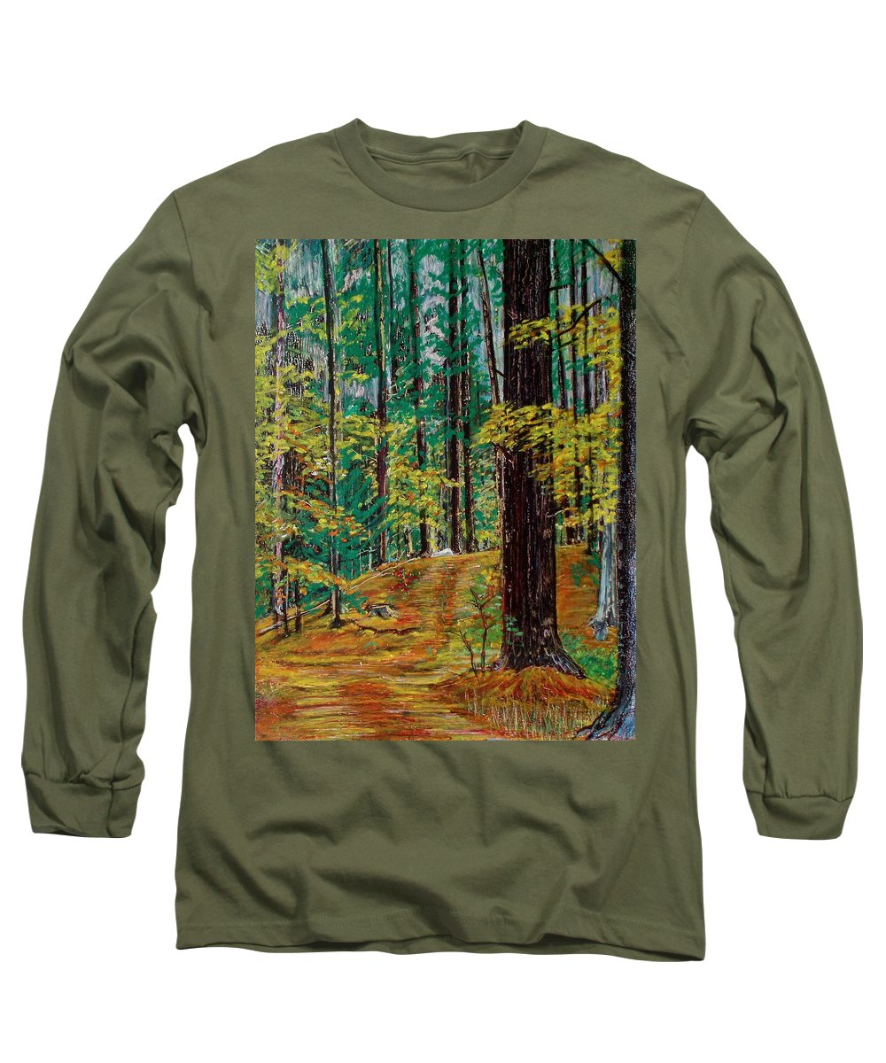 New Hampshire Long Sleeve T-Shirt featuring the pastel Trail At Wason Pond by Sean Connolly