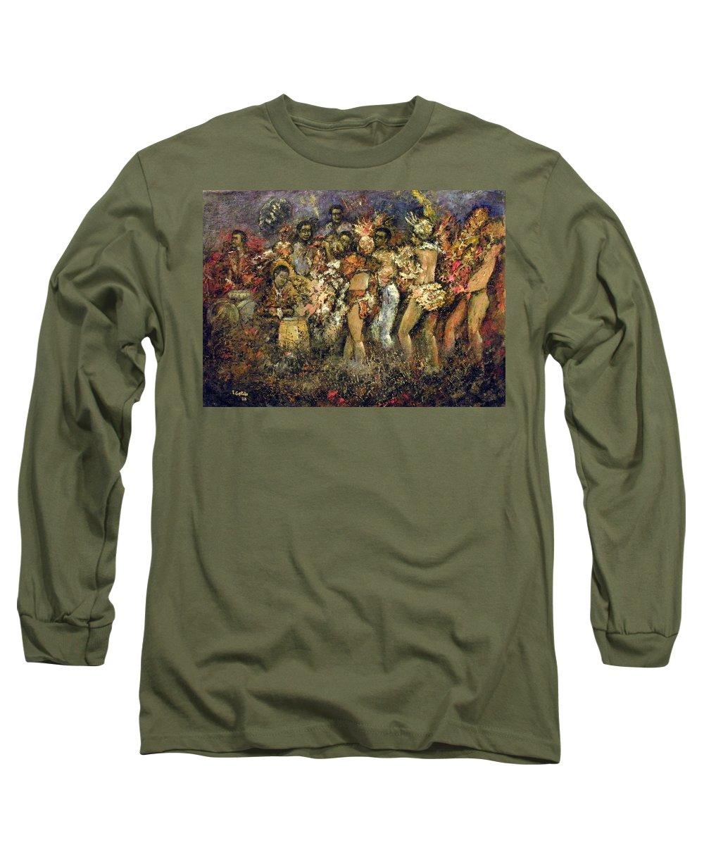 Tropicana Long Sleeve T-Shirt featuring the painting Tropicana Havana by Tomas Castano