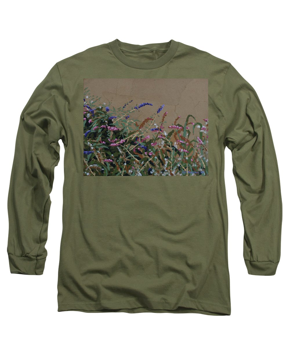 Flowering Butterfly Bush Long Sleeve T-Shirt featuring the painting Tyler by Leah Tomaino
