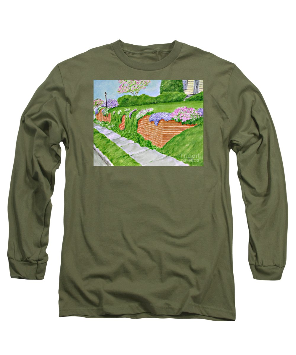 Landscape Long Sleeve T-Shirt featuring the painting Wall Of Flowers by Regan J Smith