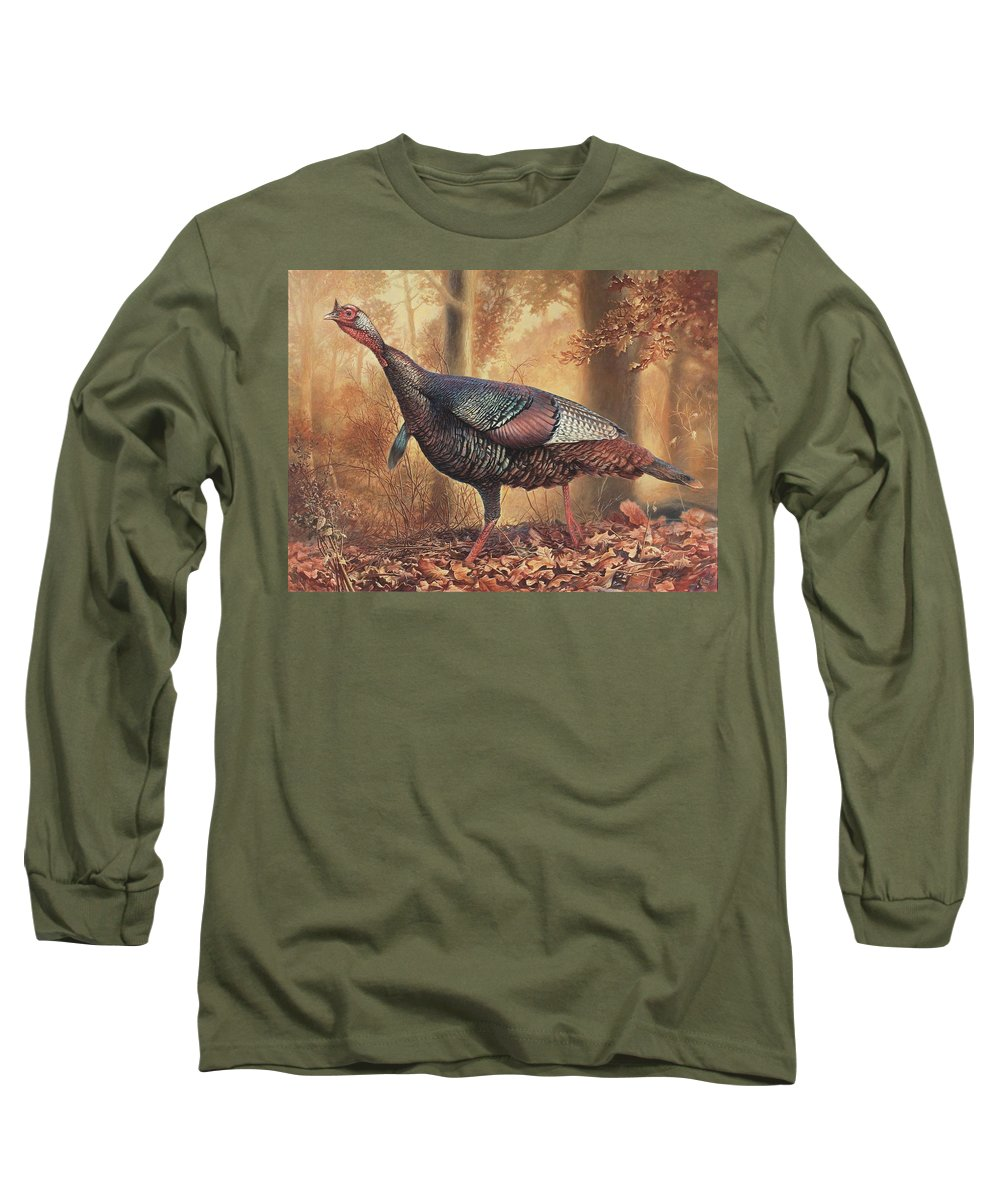 Wild Turkey Long Sleeve T-Shirt featuring the painting Wild Turkey by Hans Droog