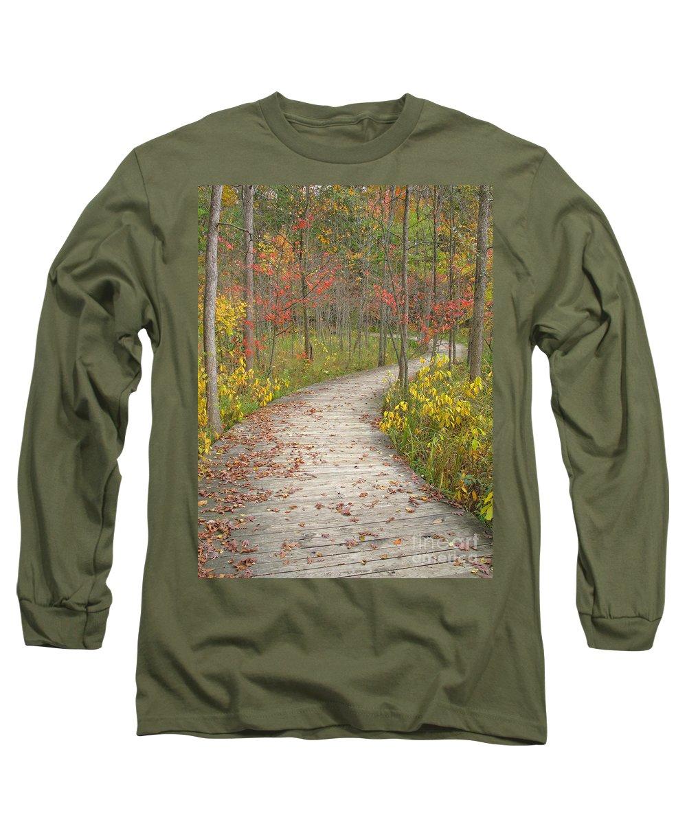 Autumn Long Sleeve T-Shirt featuring the photograph Winding Woods Walk by Ann Horn
