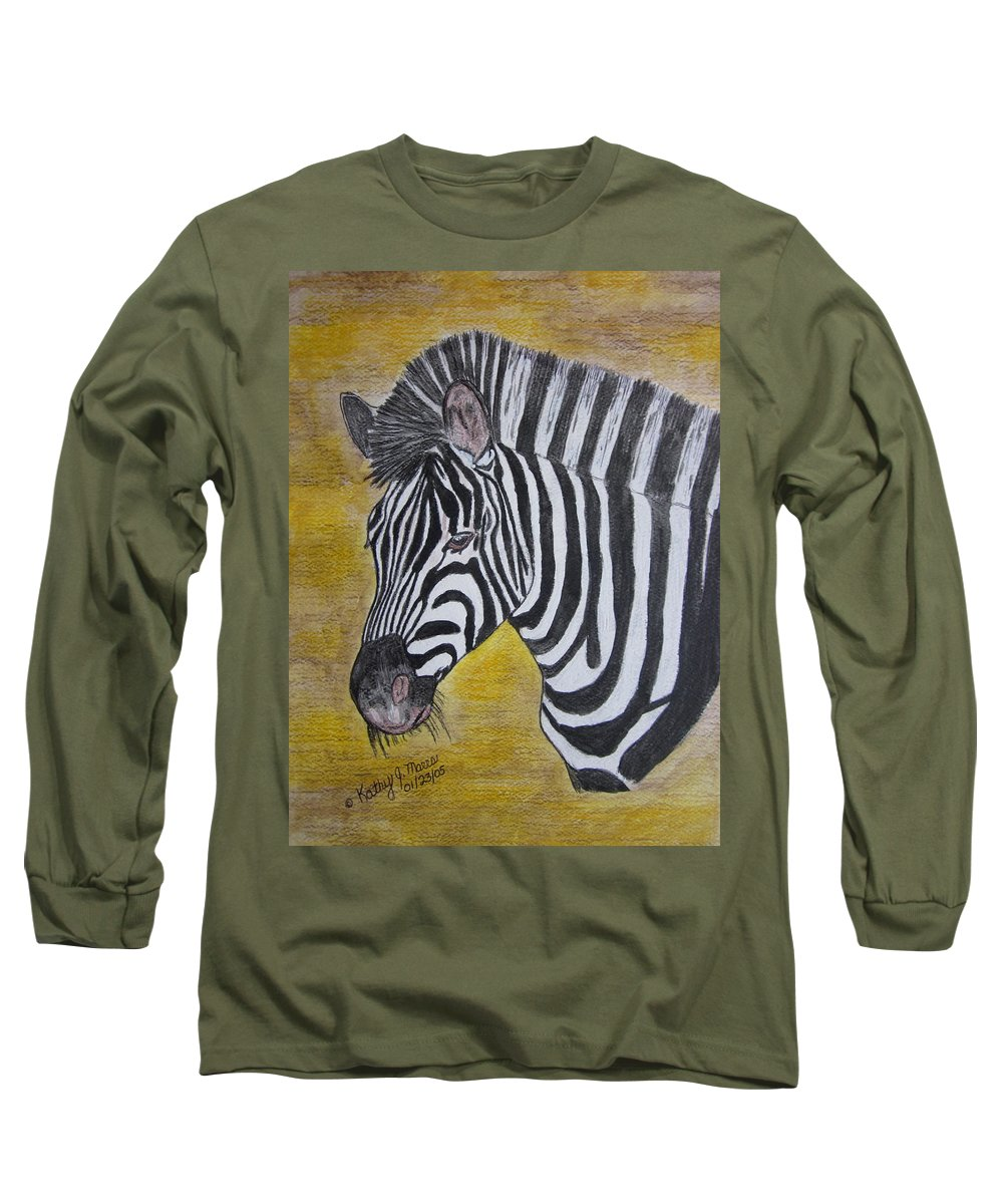 Zebra Long Sleeve T-Shirt featuring the painting Zebra Portrait by Kathy Marrs Chandler