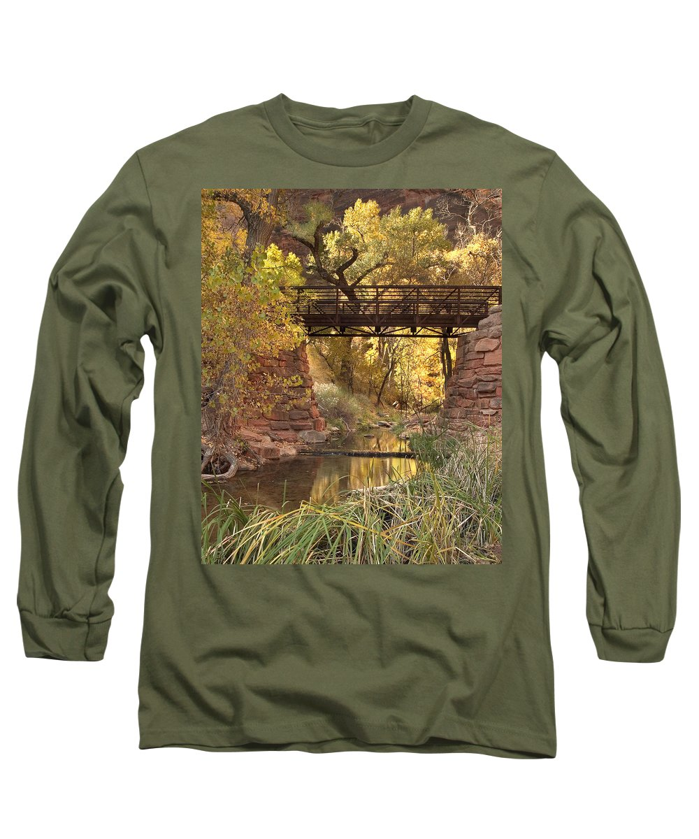 3scape Long Sleeve T-Shirt featuring the photograph Zion Bridge by Adam Romanowicz