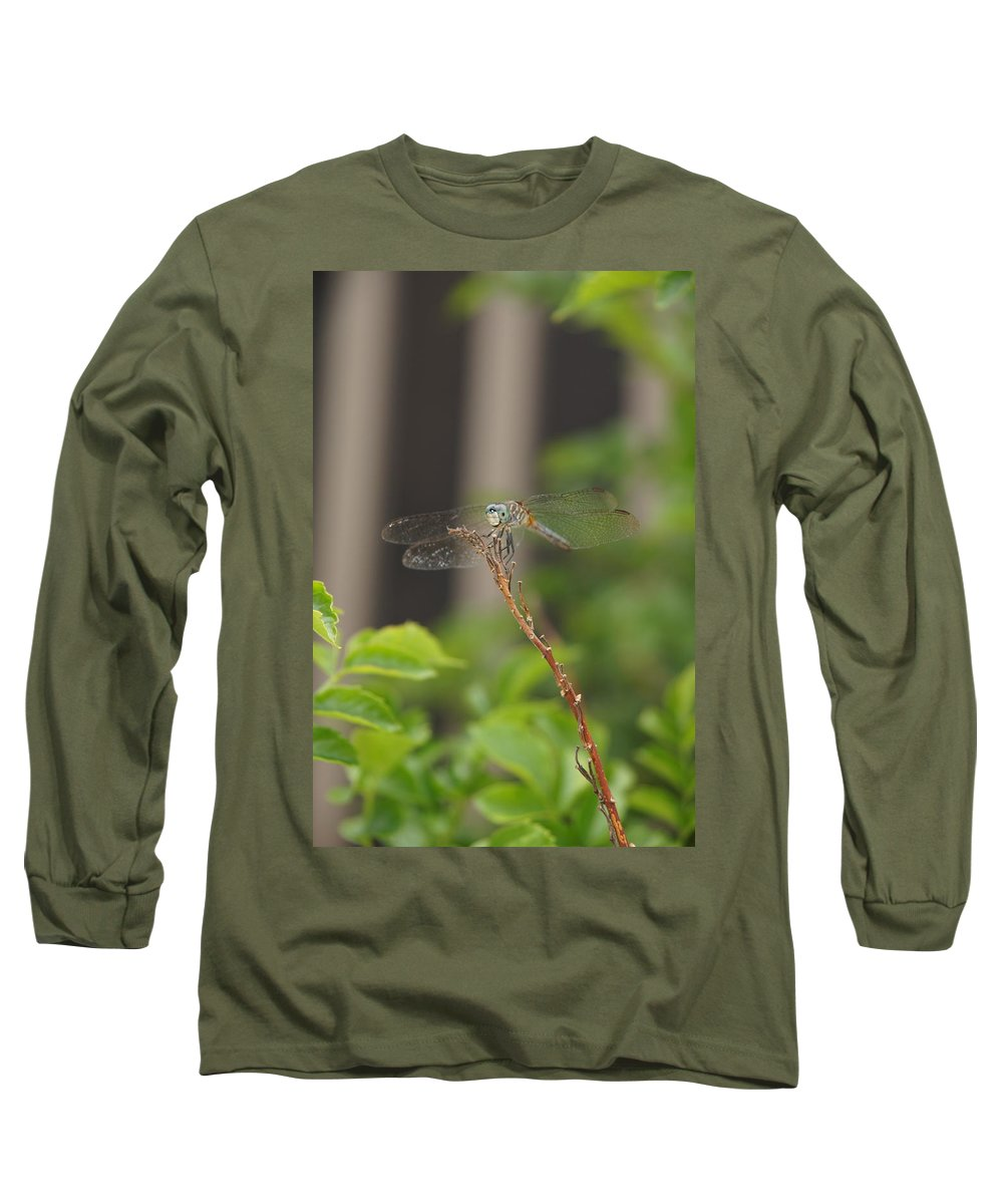 Dragonfly Long Sleeve T-Shirt featuring the photograph Dragonfly Smile by Megan Cohen