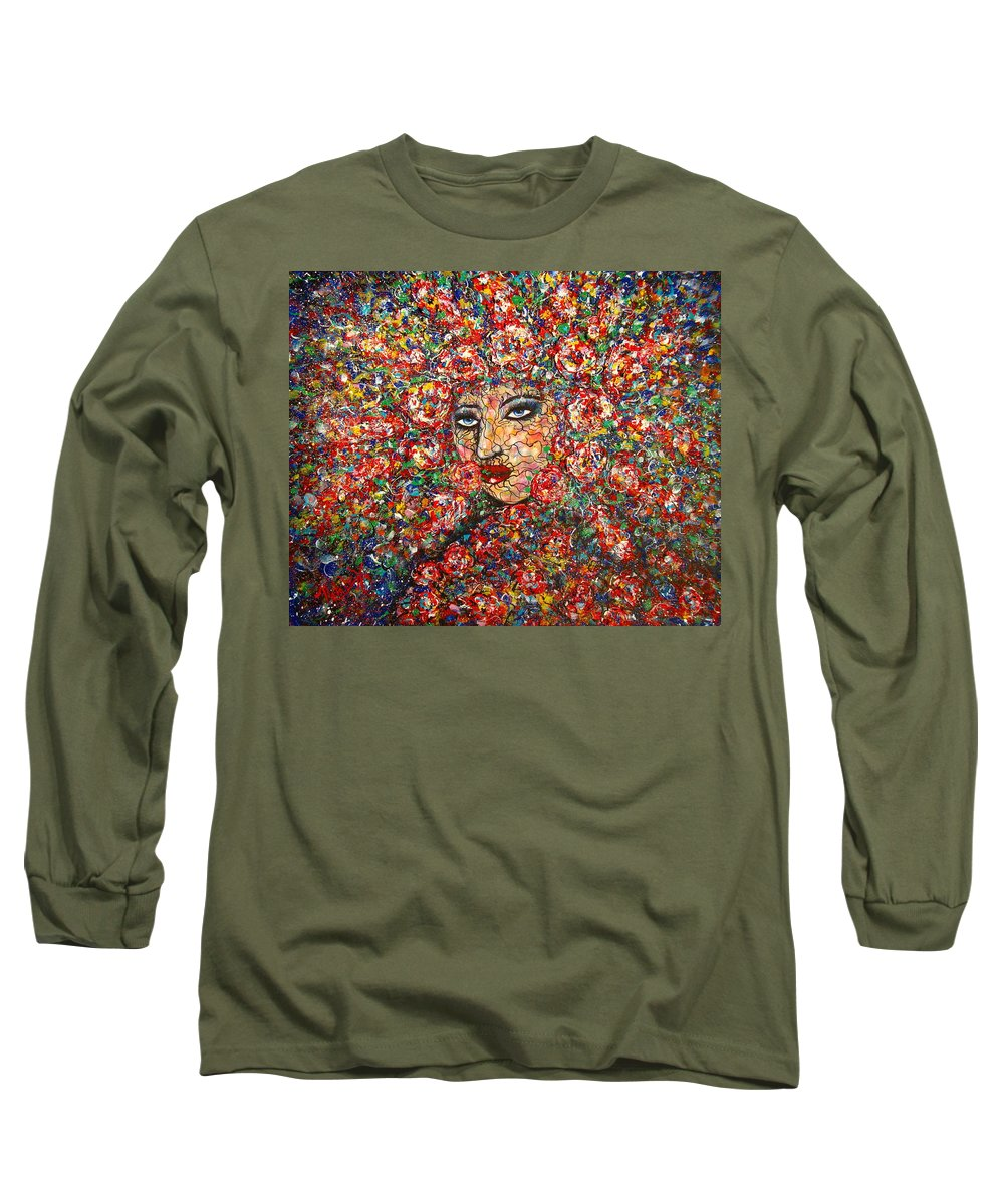 Woman Long Sleeve T-Shirt featuring the painting  Gentle Beautiful Flower by Natalie Holland