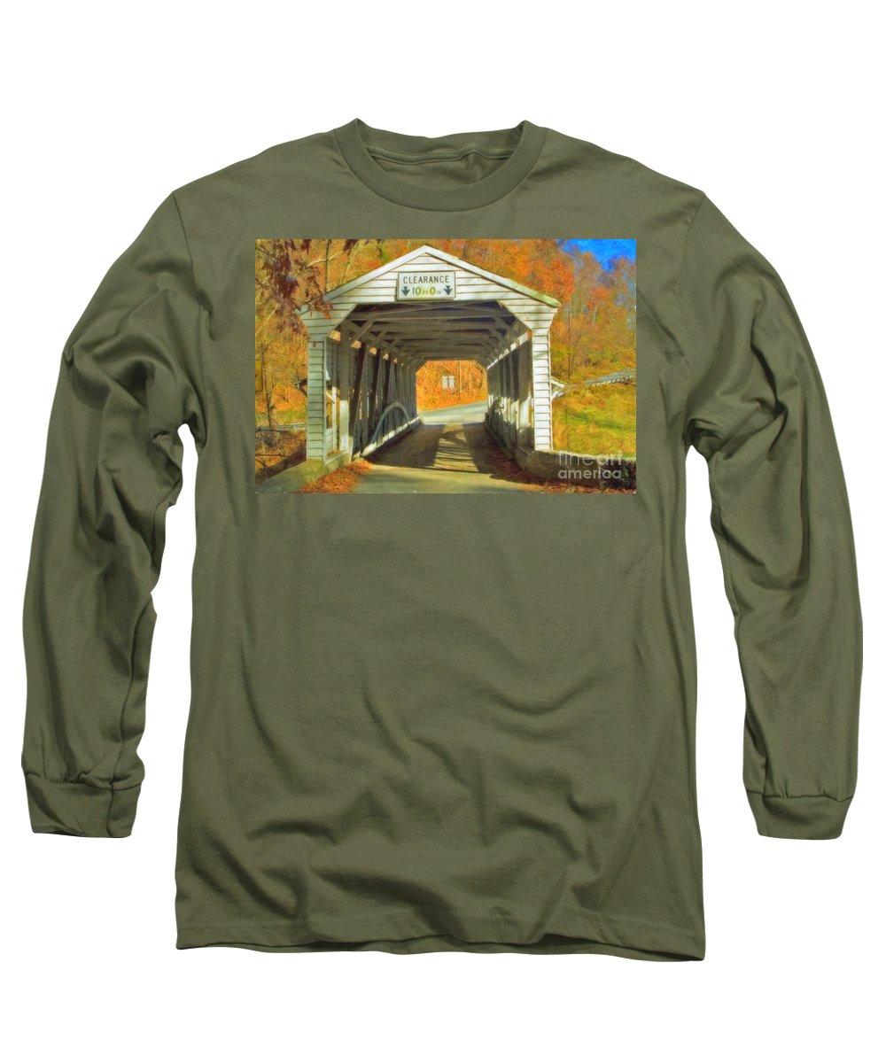 Covered Bridge Revolutionary Civil War Watercolor Photographs Long Sleeve T-Shirt featuring the photograph Covered Bridge Watercolor by David Zanzinger