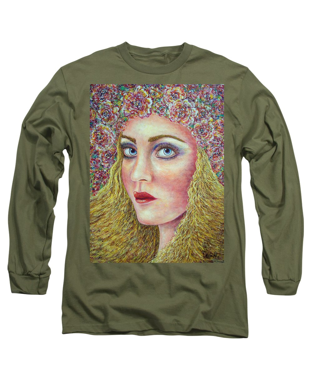 Woman Long Sleeve T-Shirt featuring the painting  The Flower Girl by Natalie Holland