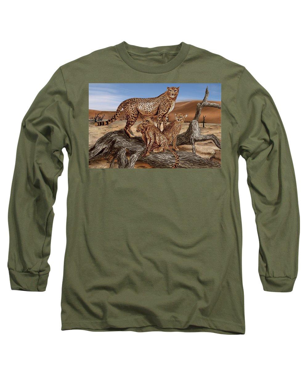 Cheetah Family Tree Long Sleeve T-Shirt featuring the drawing Cheetah Family Tree by Peter Piatt