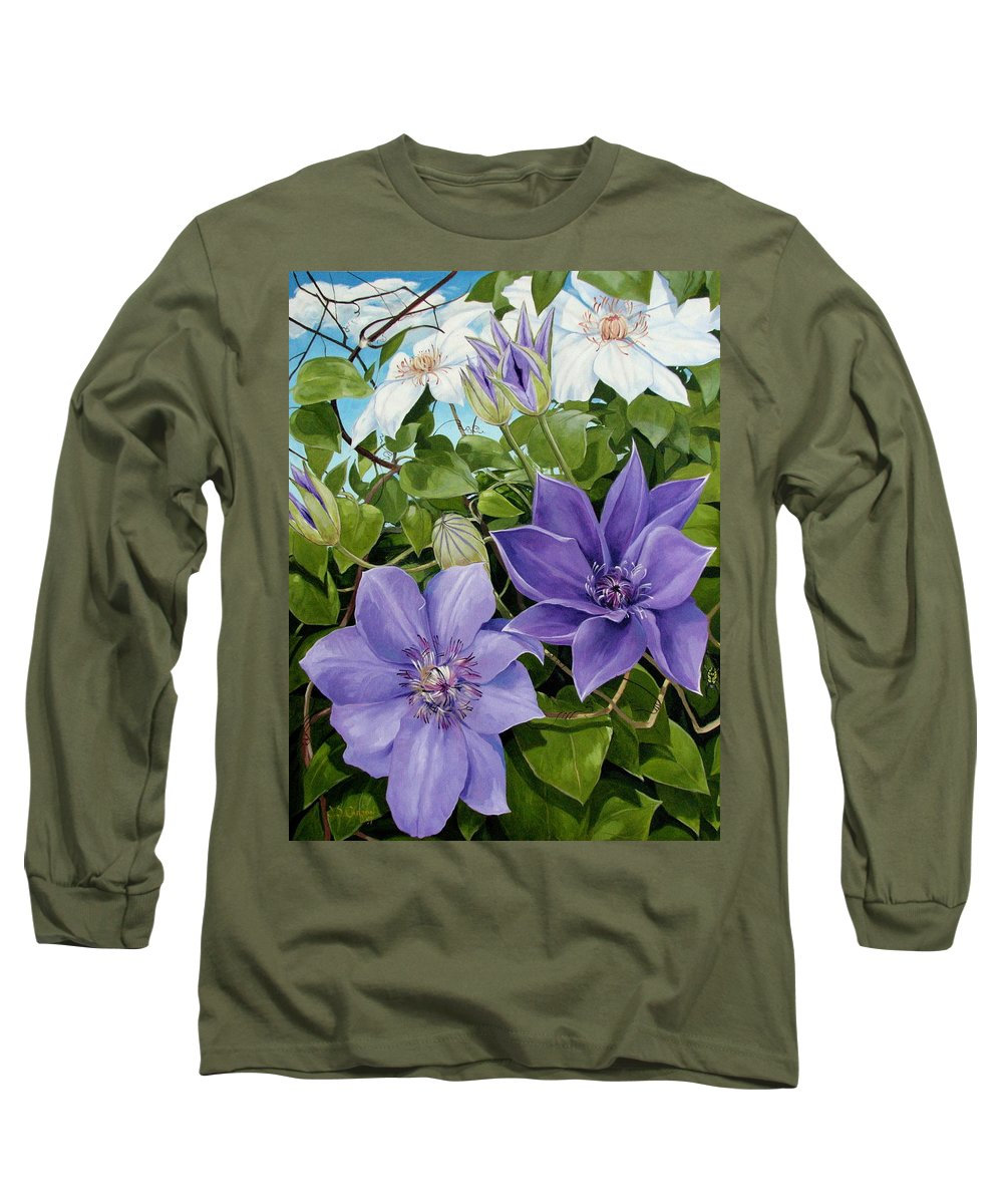 Clematis Long Sleeve T-Shirt featuring the painting Clematis 2 by Jerrold Carton