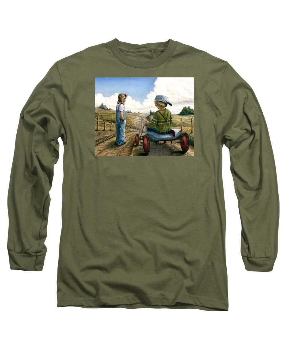 Children Playing Long Sleeve T-Shirt featuring the painting Down Hill Racer by Lance Anderson