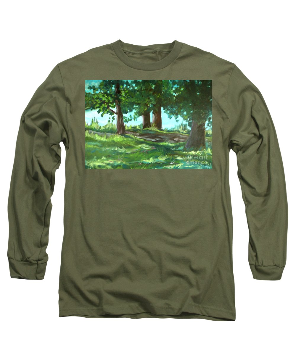 Expressionist Landscape Long Sleeve T-Shirt featuring the painting Dreaming On Fellows Lake by Jan Bennicoff
