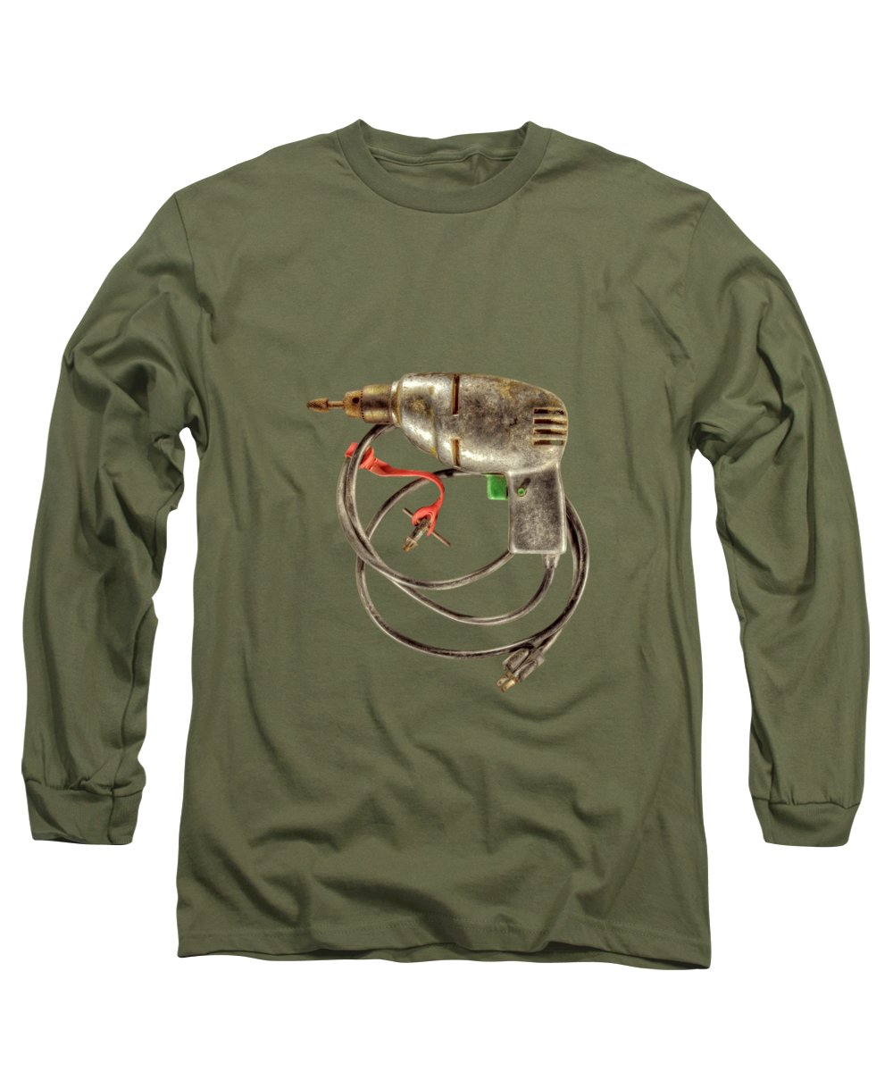 Antique Long Sleeve T-Shirt featuring the photograph Drill Motor Green Trigger by YoPedro
