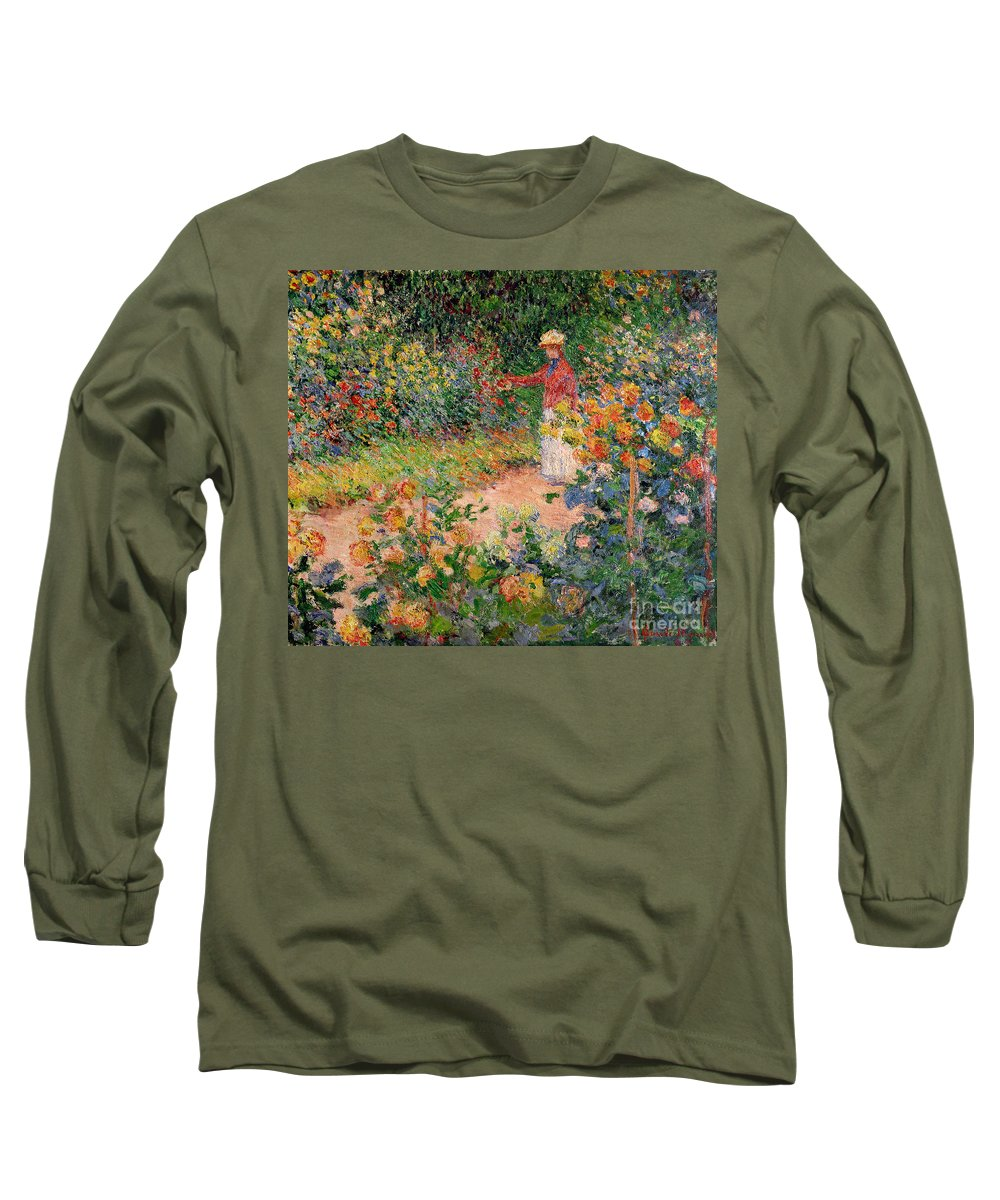 Garden Long Sleeve T-Shirt featuring the painting Garden At Giverny by Claude Monet