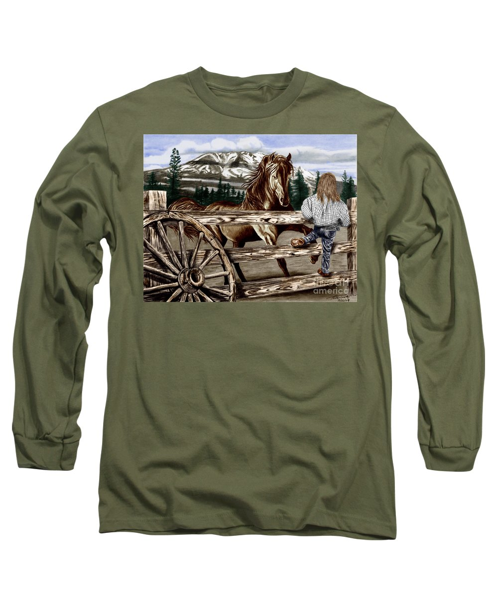 Hello Girl Long Sleeve T-Shirt featuring the drawing Hello Girl by Peter Piatt