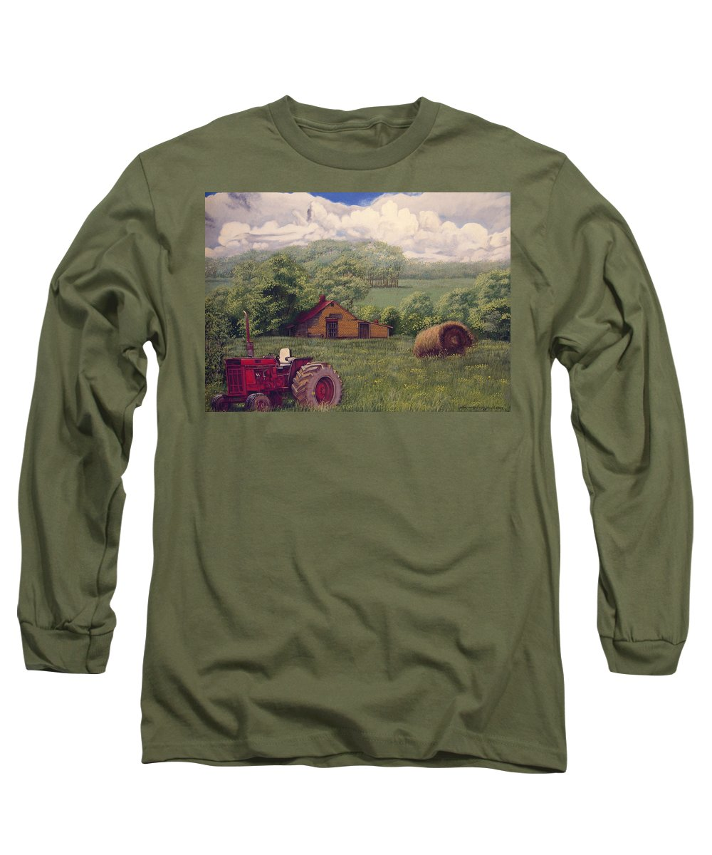 Landscape Long Sleeve T-Shirt featuring the painting Idle In Godfrey Georgia by Peter Muzyka