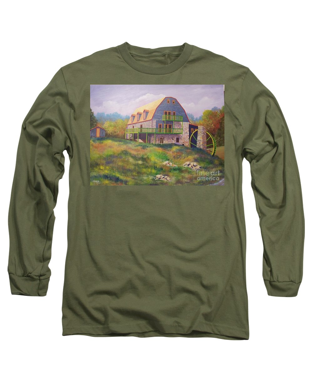 Mill Long Sleeve T-Shirt featuring the painting Mountain Mill by Hugh Harris