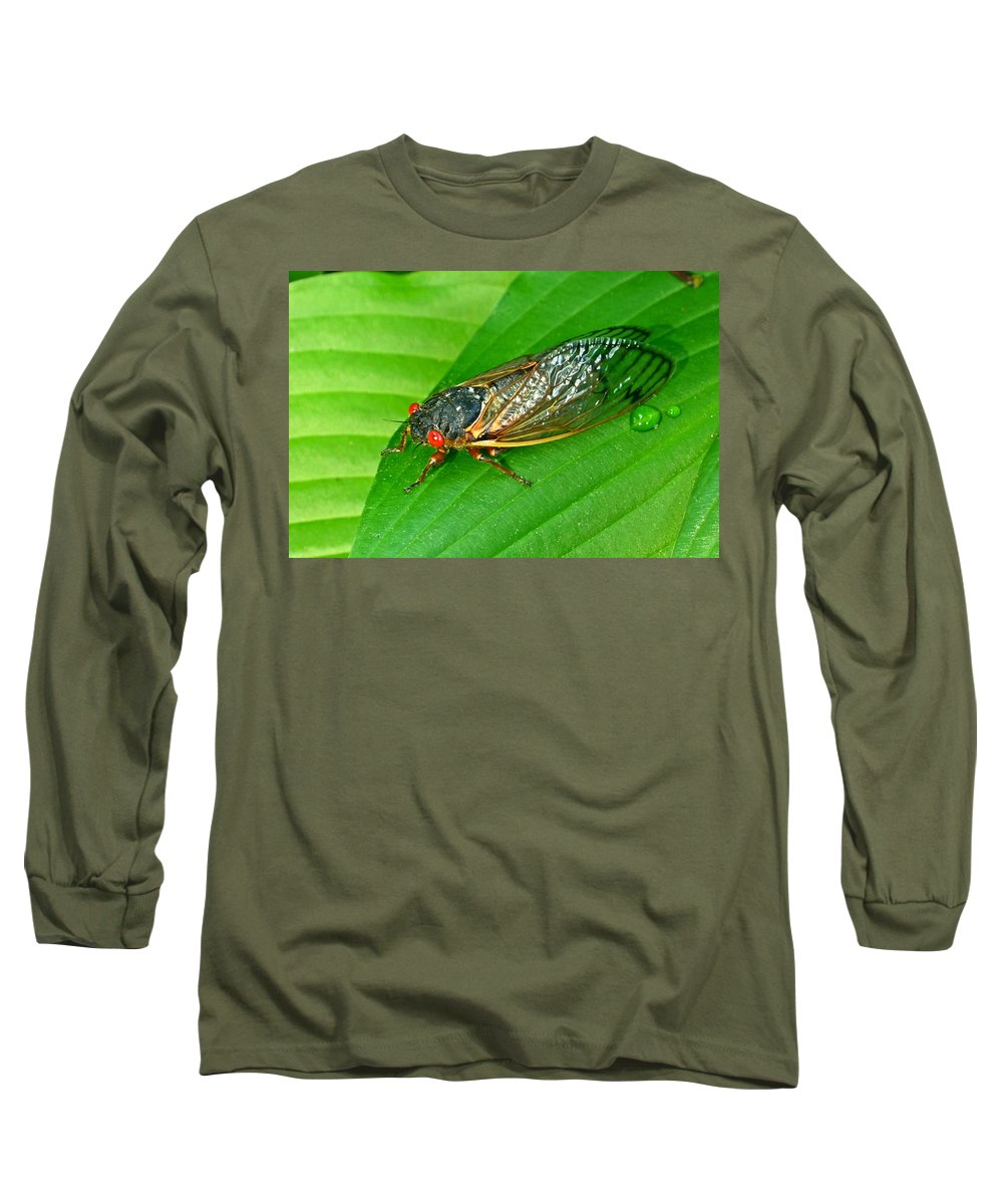 17 Long Sleeve T-Shirt featuring the photograph 17 Year Periodical Cicada by Douglas Barnett