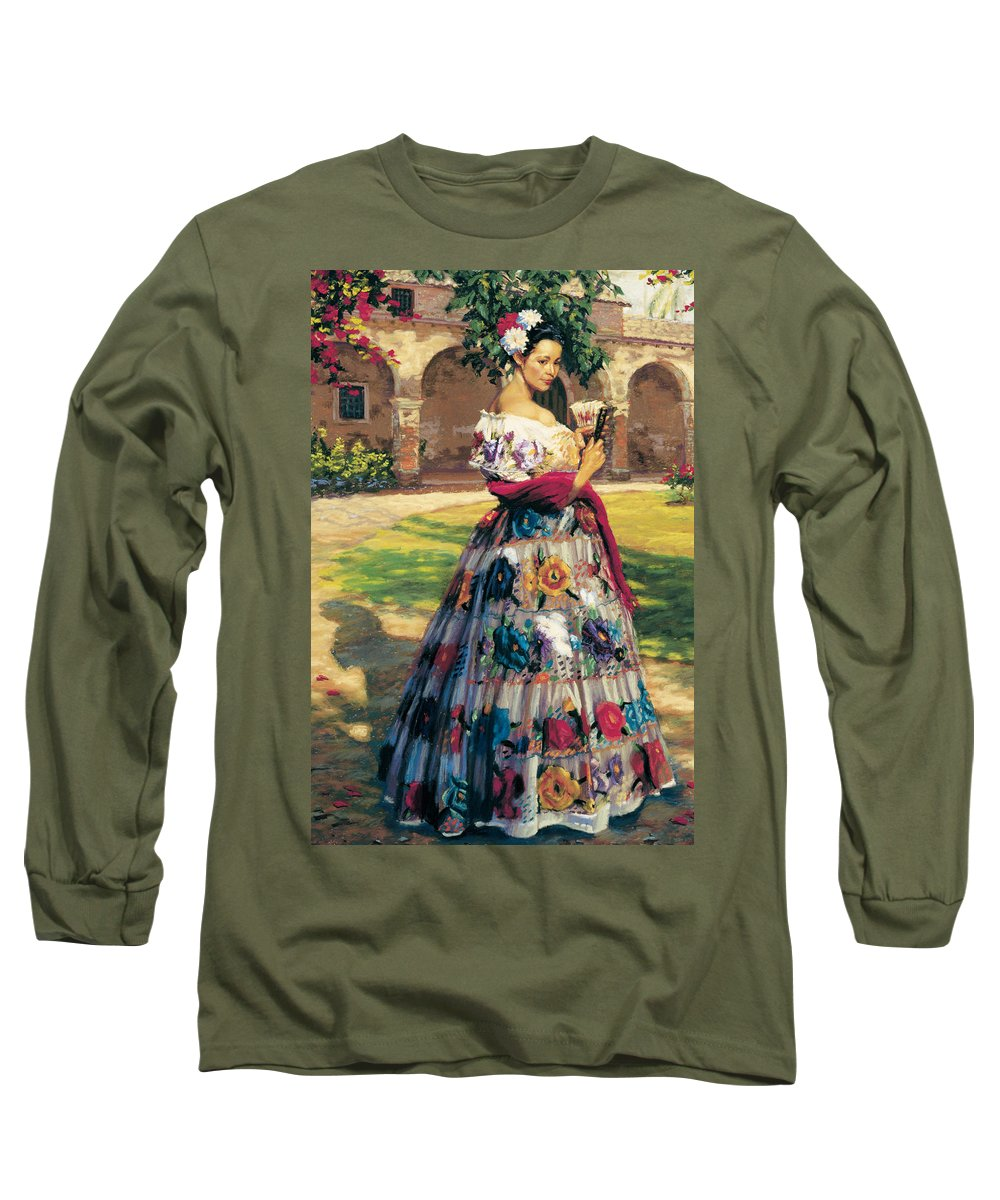 Figure Long Sleeve T-Shirt featuring the painting Al Aire Libre by Jean Hildebrant
