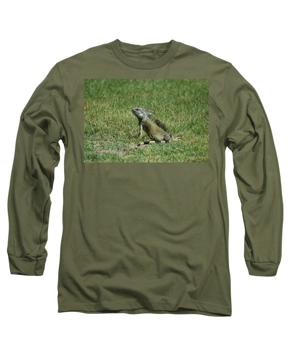 Macro Long Sleeve T-Shirt featuring the photograph I Iguana by Rob Hans